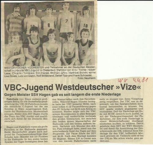 1981_C-Jugend_Jahrgang-65-66-67_Westdeutscher-Vizemeister