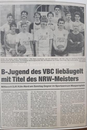 1986: B-Jugend vor WBV-Endrunde in Paderborn