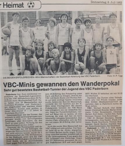 1982: VBC-Minis gewinnen Turnier in Paderborn